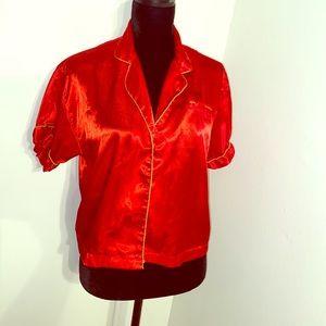 Red Morgan Taylor Polyester Pajama Top